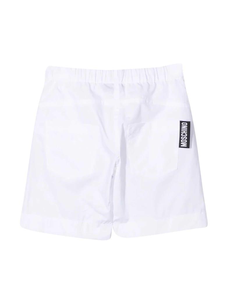 Moschino White Teen Bermuda With Multicolor Print - Bianco