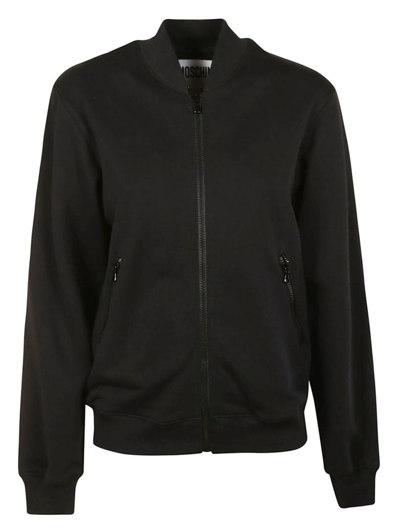 Moschino Logo Embellished Zip Jacket - Black