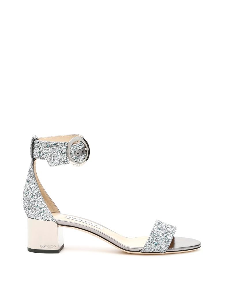 Jimmy Choo Glitter Jaimie 40 Sandals - DENIM MIX (Silver)