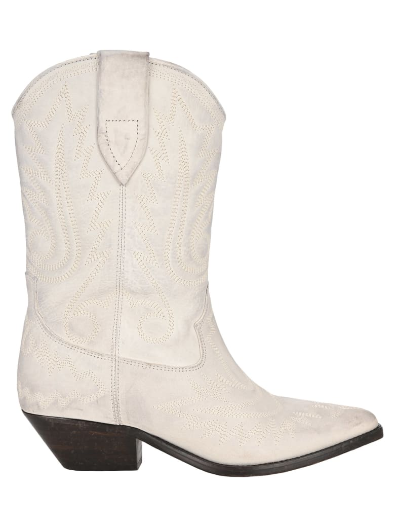 Isabel Marant Duerto Texan Ankle Boots - WHITE
