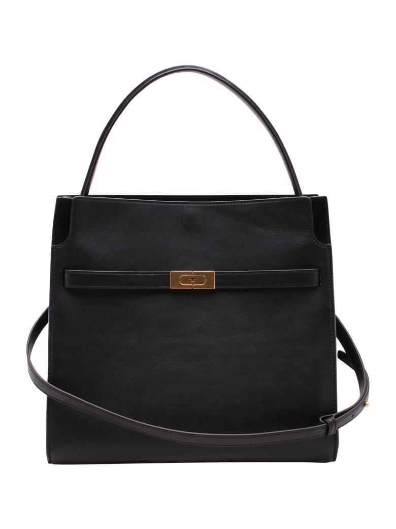 Tory Burch 'lee Radziwill' Leather Tote Bag - Black