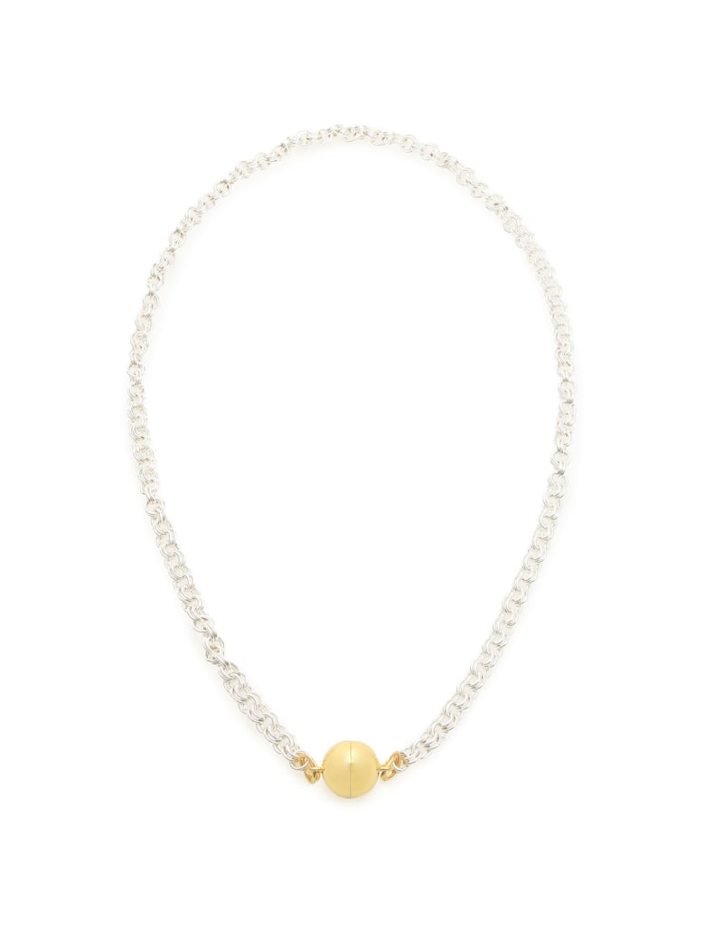 Timeless Pearly Chain Necklace With Magnetic Clasp - SILVER GOLD (Silver)