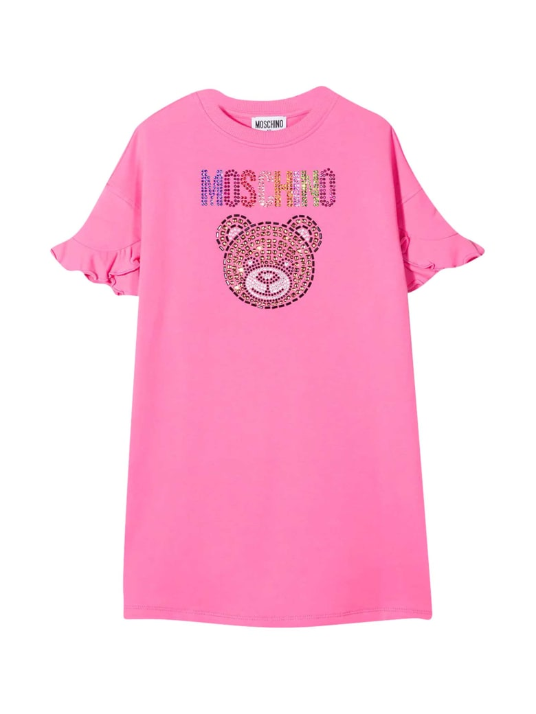 Moschino Pink Dress With Multicolor Applications - Rosa