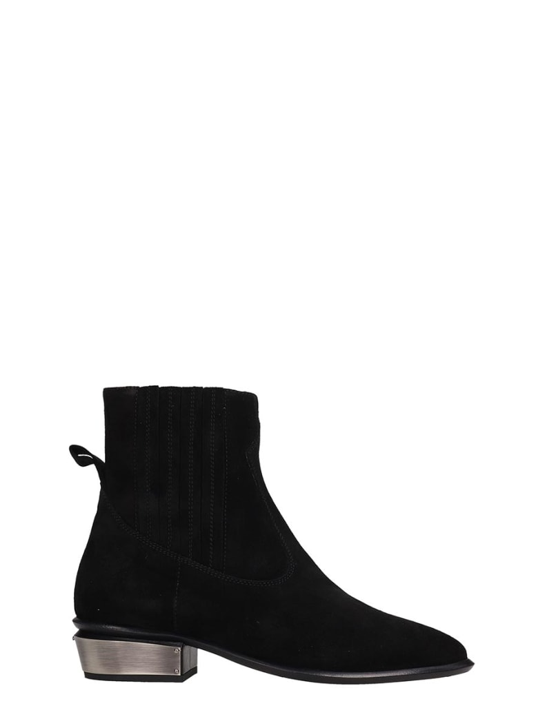 Kate Cate Cowboy Kate Low Heels Ankle Boots In Black Suede - black