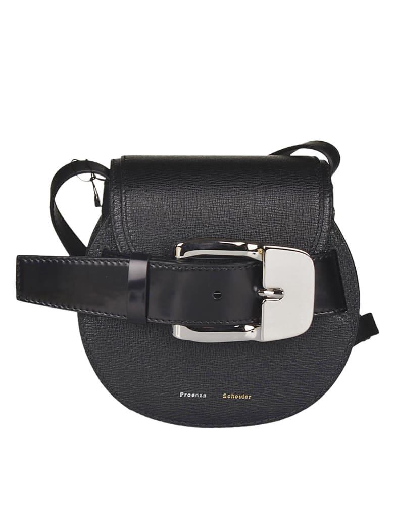 Proenza Schouler Buckle Front Round Shoulder Bag - Black