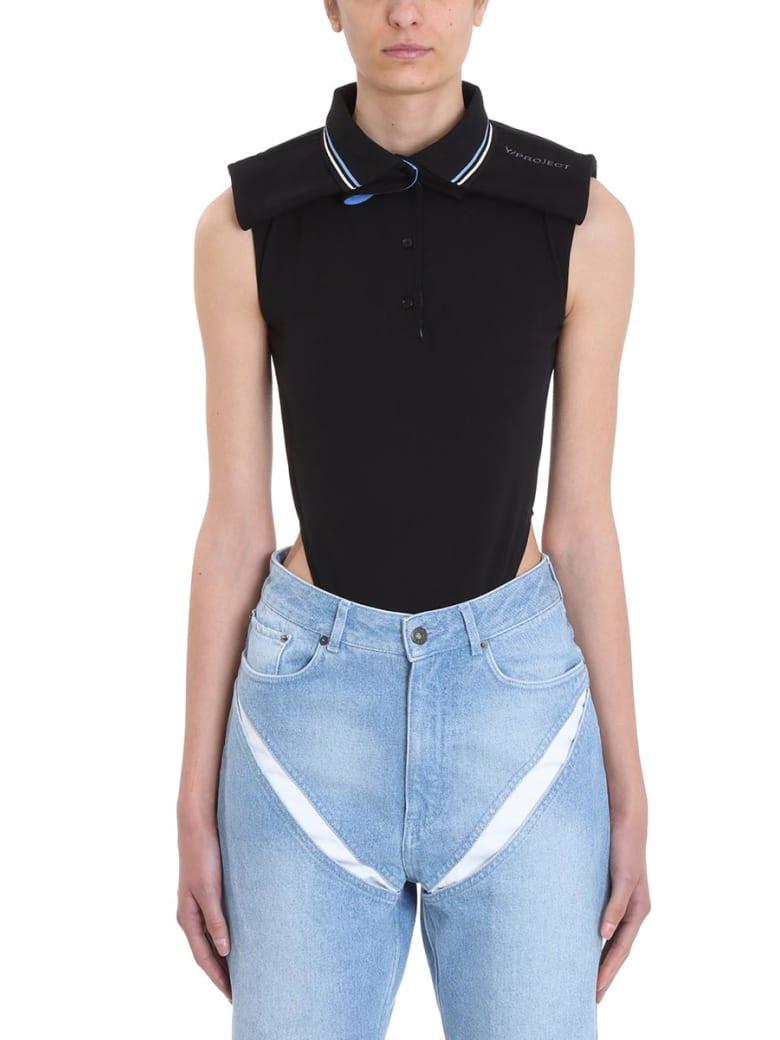 Y/Project Sleeveless Cotton Piqu? Bodysuit - black