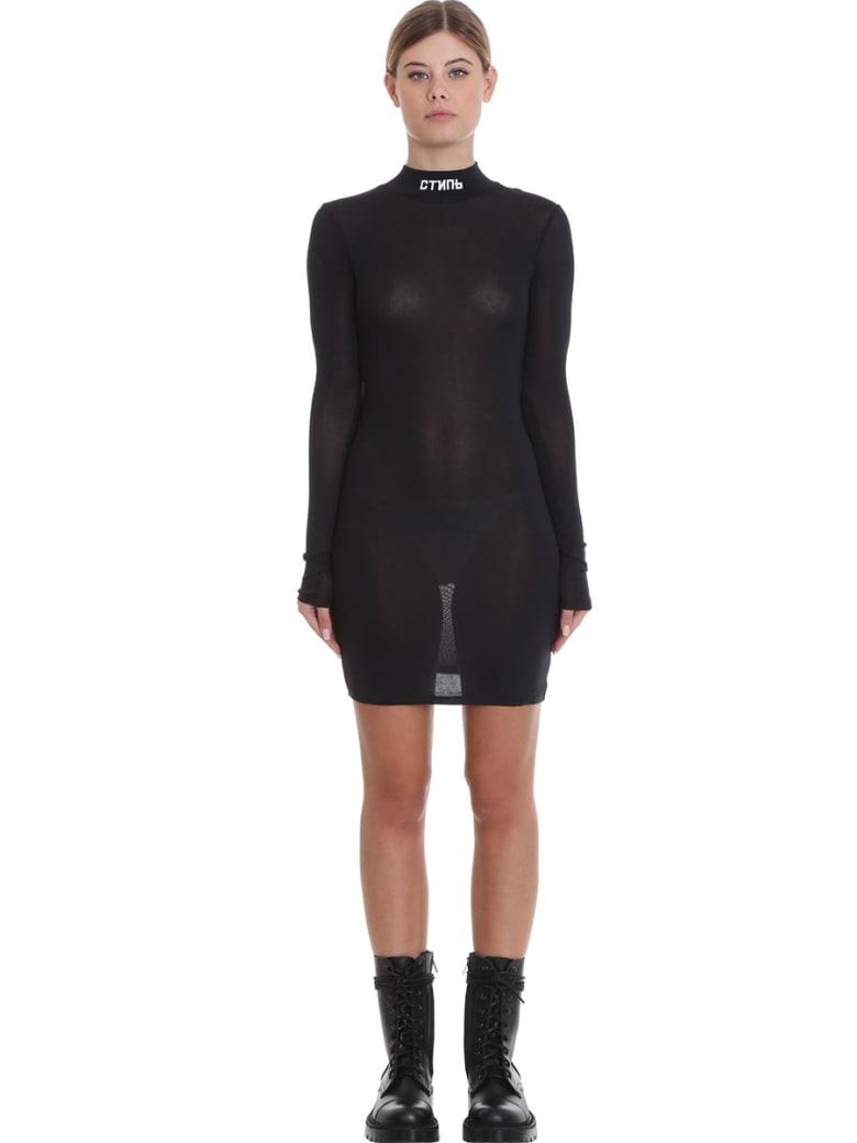 HERON PRESTON Turtleneck Dres Dress In Black Cotton - black
