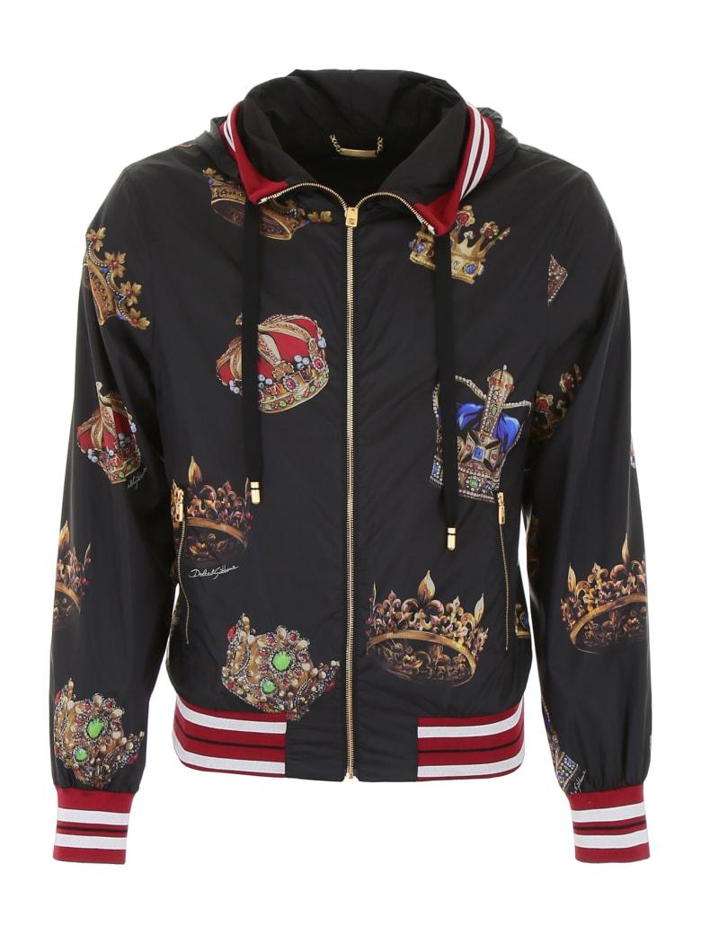 Dolce & Gabbana Crown Print Jacket - CORONE FDO NERO (Black)