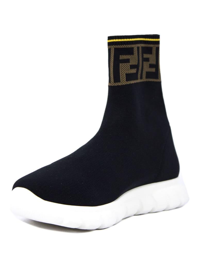 Fendi Black Stretch-mesh Junior High-top Sneakers - Bicolore