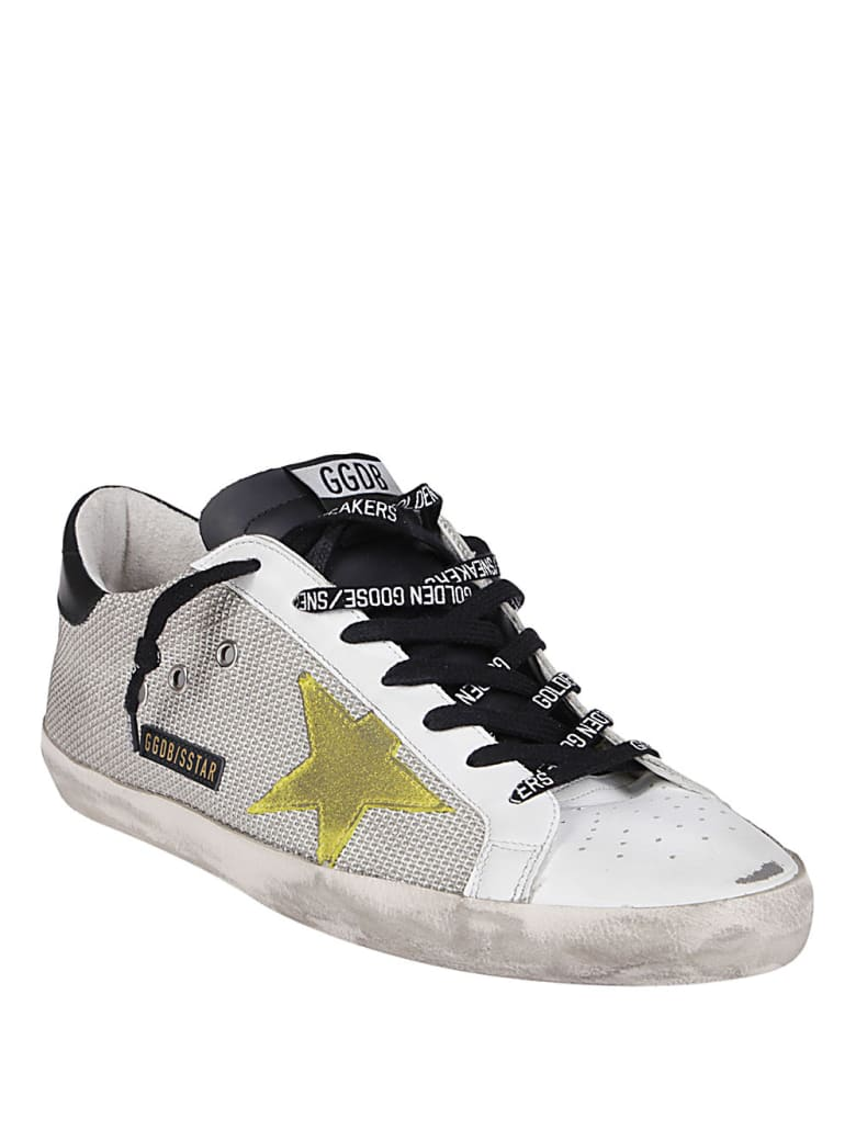 Golden Goose Grey Net And White Leather Super-star Sneakers - Grey