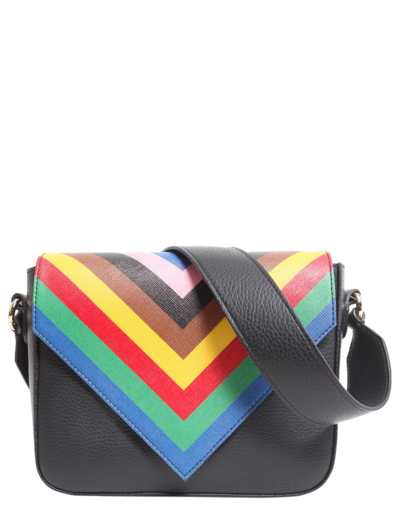 Sara Battaglia Tripe Crossbody Bag - NERO