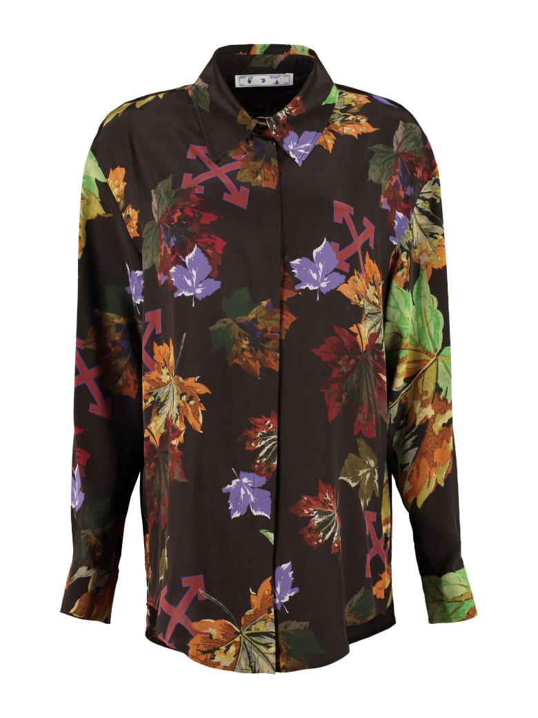 Off-White Printed Silk Shirt - brown