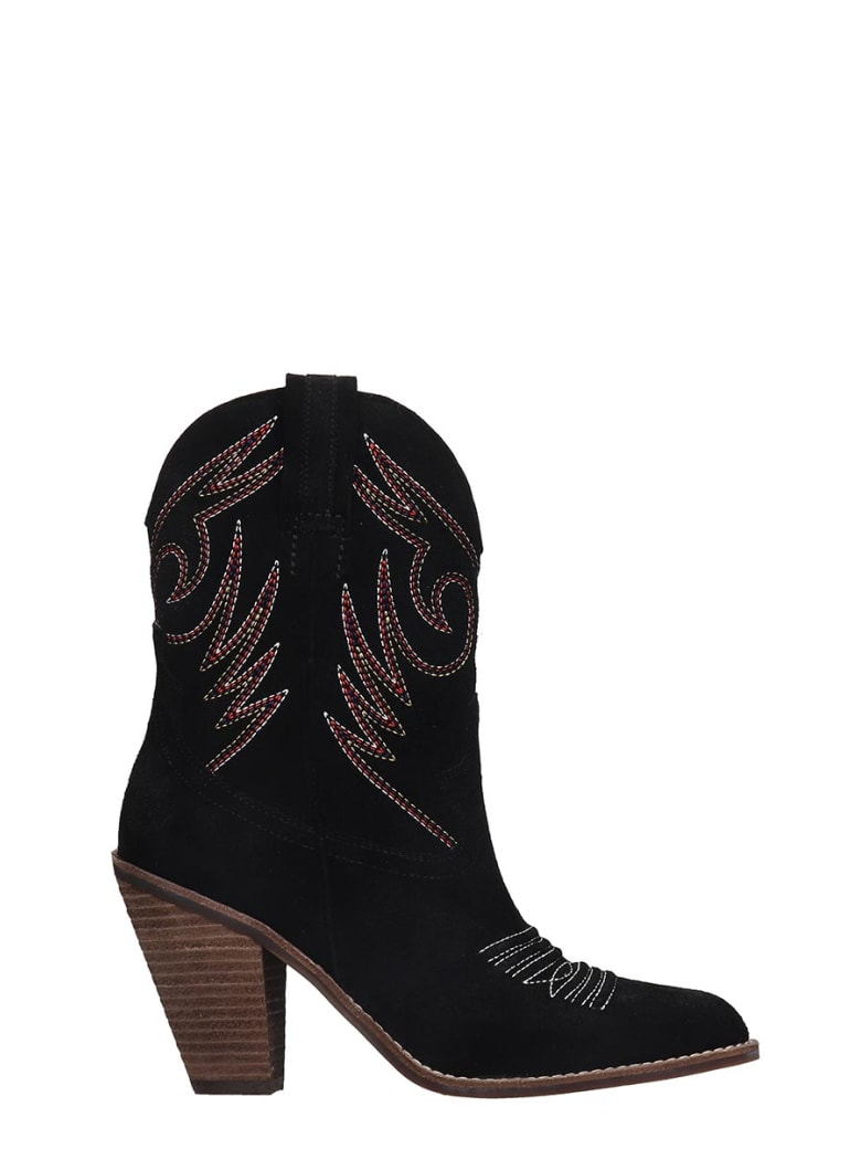 Jeffrey Campbell Audie  Texan Ankle Boots In Black Suede - black