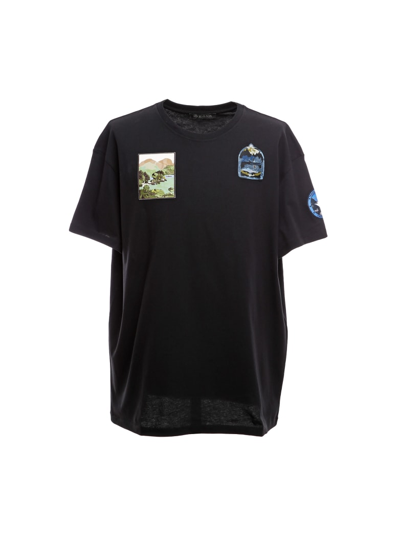 Mr & Mrs Italy Oversized T-shirt With Embroidered Patches - BLACK