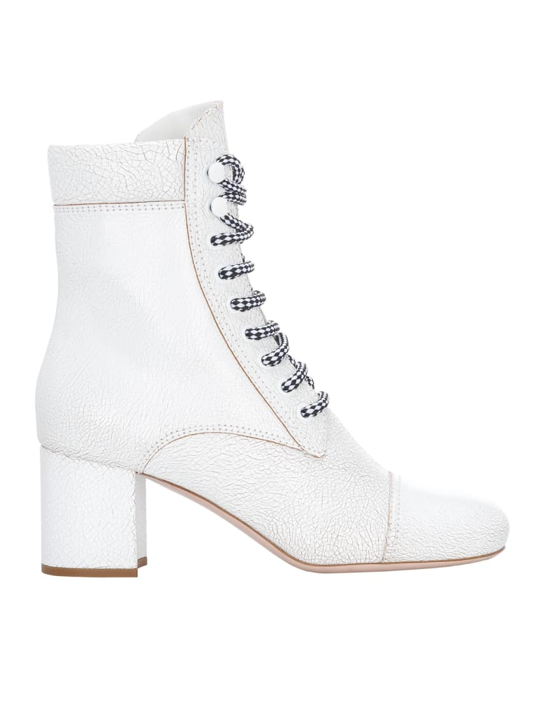 Miu Miu Leather Cracked Laced Boots - WHITE