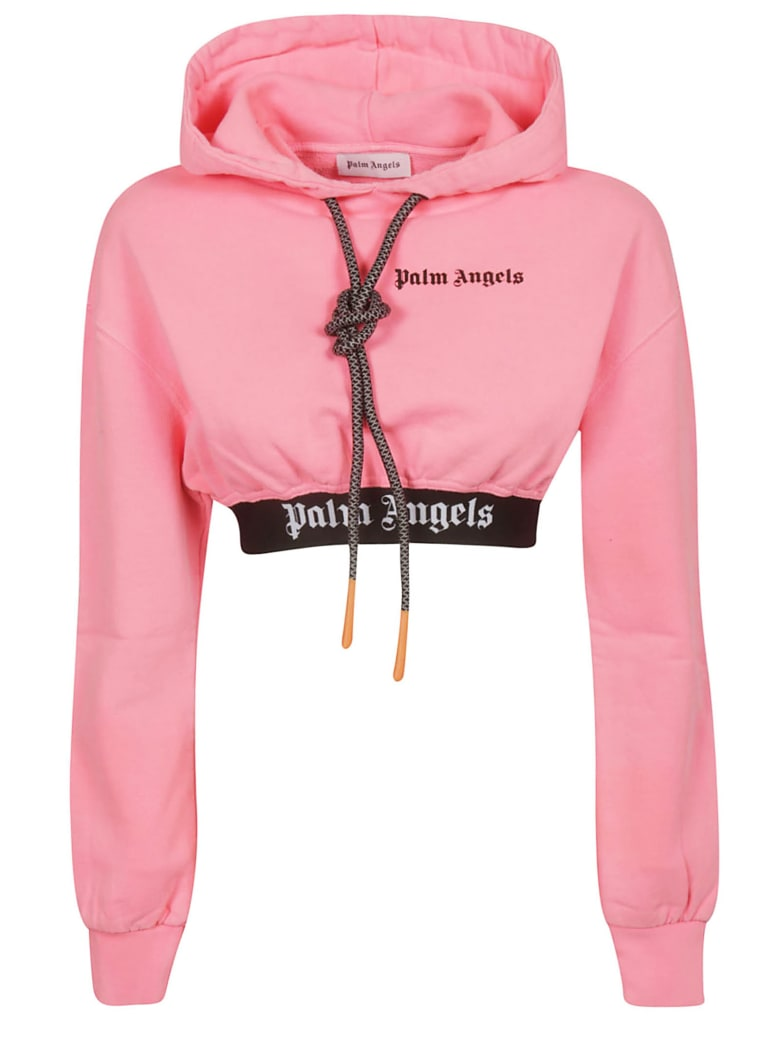 Palm Angels Cropped Hoodie - Fluo Pink