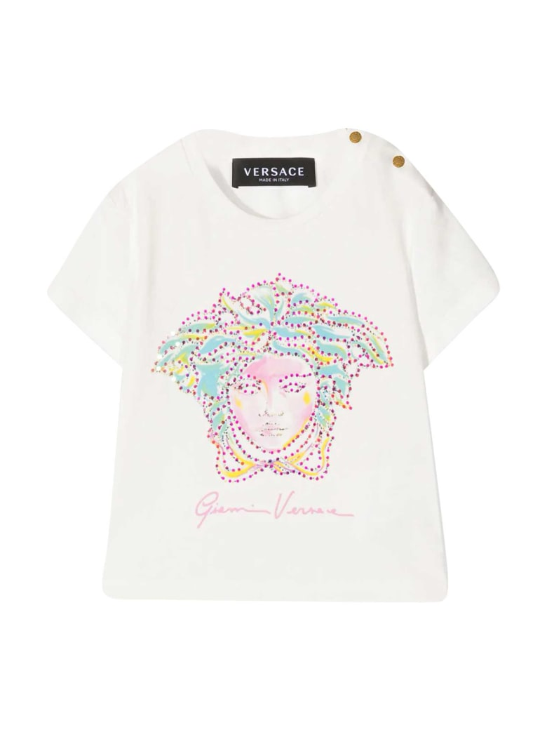 Young Versace White T-shirt With Application - Multicolor
