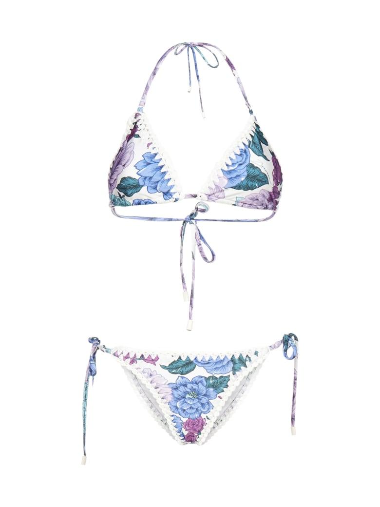 Zimmermann Poppy Crochet Floral Print Bikini - Lilac floral