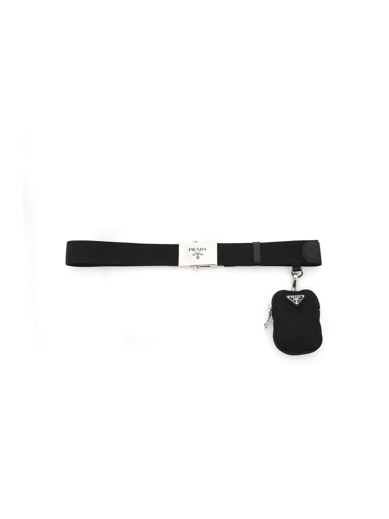 Prada Nylon Webbing Belt With Pouch - NERO (Black)