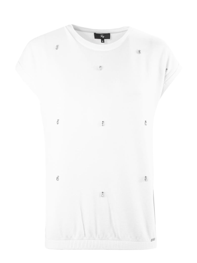 Fay Cream Jewel T-shirt - Panna