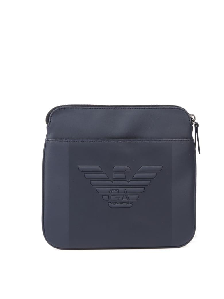 Emporio Armani Blue Embossed Logo Shoulder Bag - Blu navy