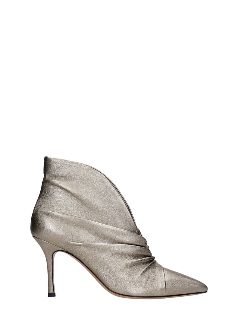 The Seller High Heels Ankle Boots In Platinum Leather - platinum