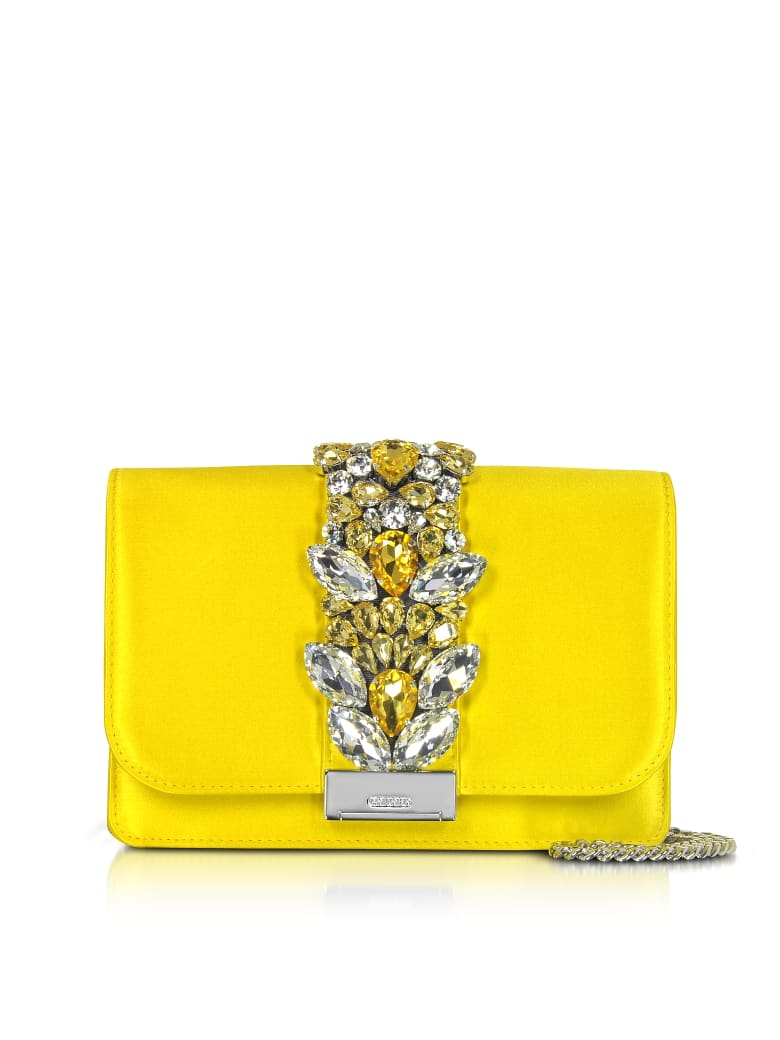 Gedebe Satin Cliky Clutch - Neon Yellow
