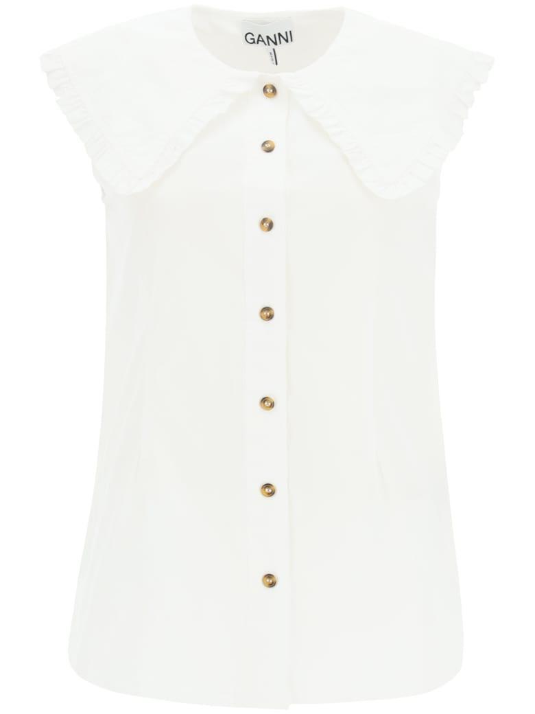 Ganni Sleeveless Shirt With Over Peter Pan Collar - Bianco