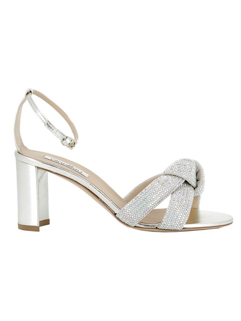 Ninalilou Platino Leather/glitter Sandals - SILVER