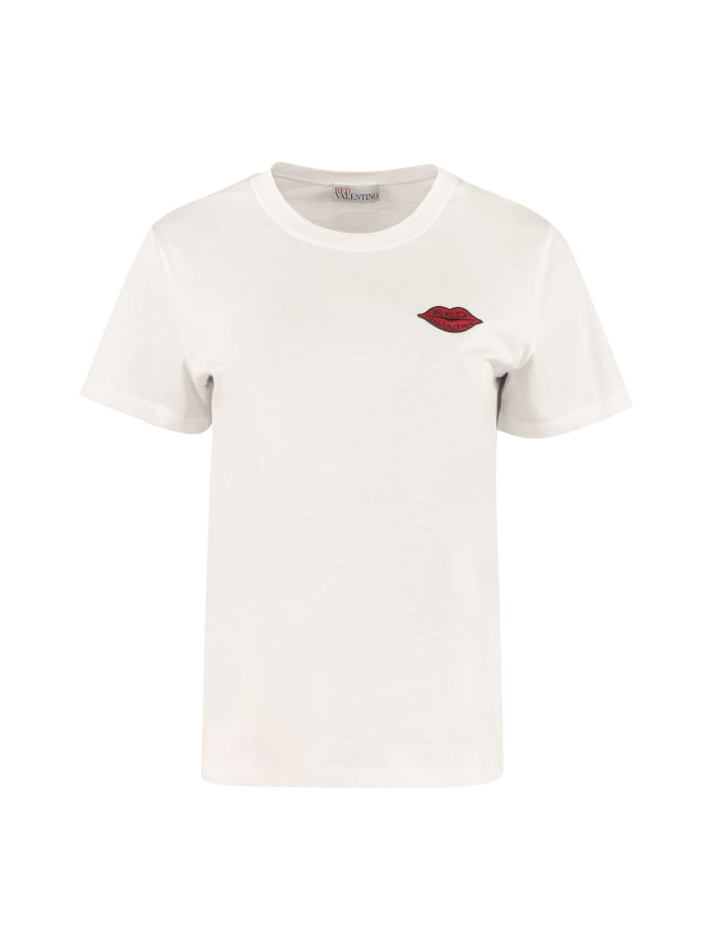 RED Valentino Embroidered Patch Cotton T-shirt - White