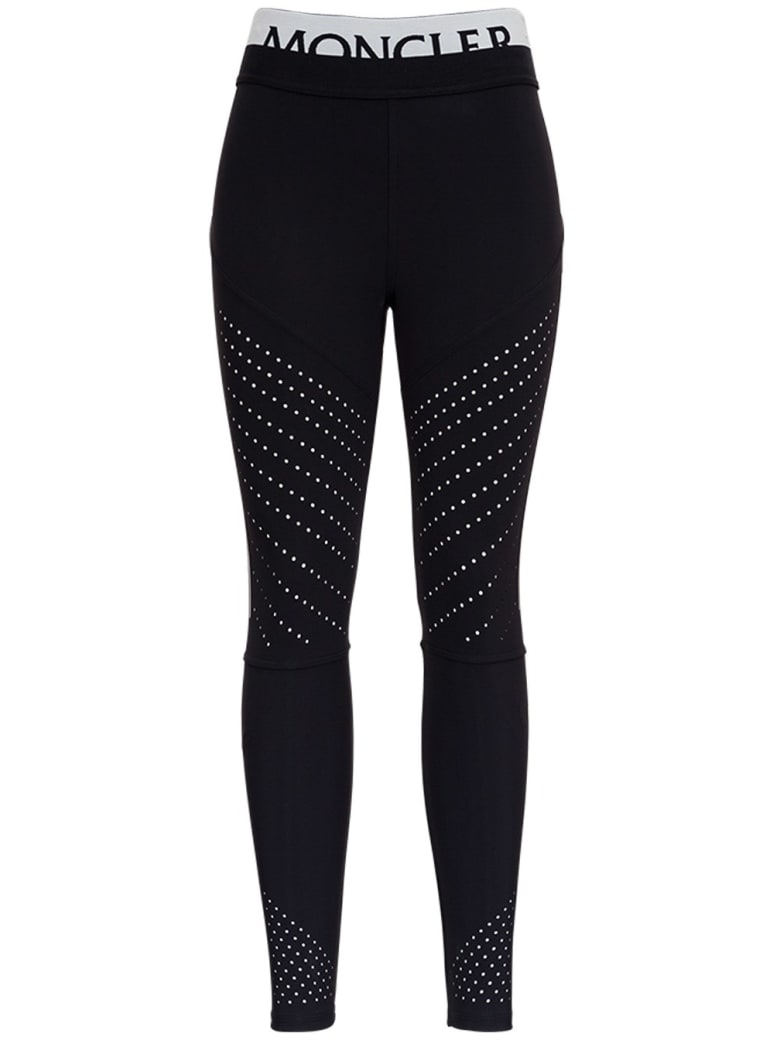 Moncler Leggings In Elastic Fabric With Logo - Nero