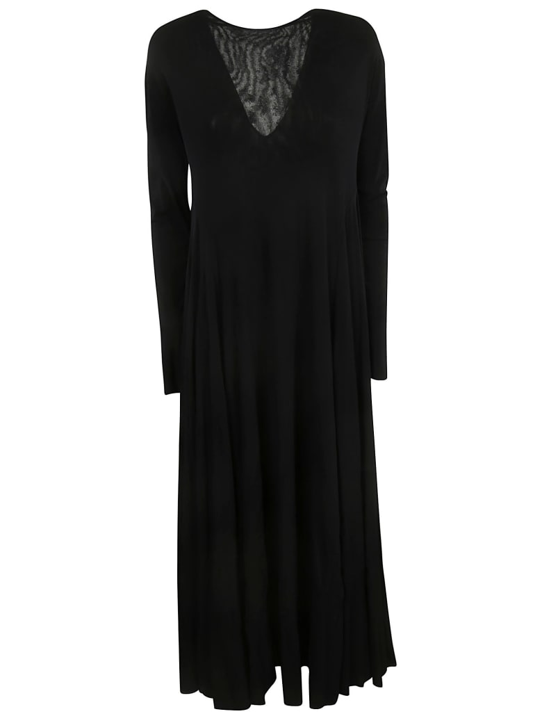 Jil Sander V-neck Long Dress - Black