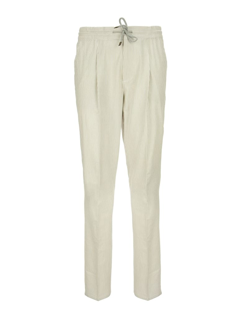 Brunello Cucinelli Comfort Cotton Striped Textured Fabric Leisure Fit Trousers With Drawstring And Pleat - Bianco/brown