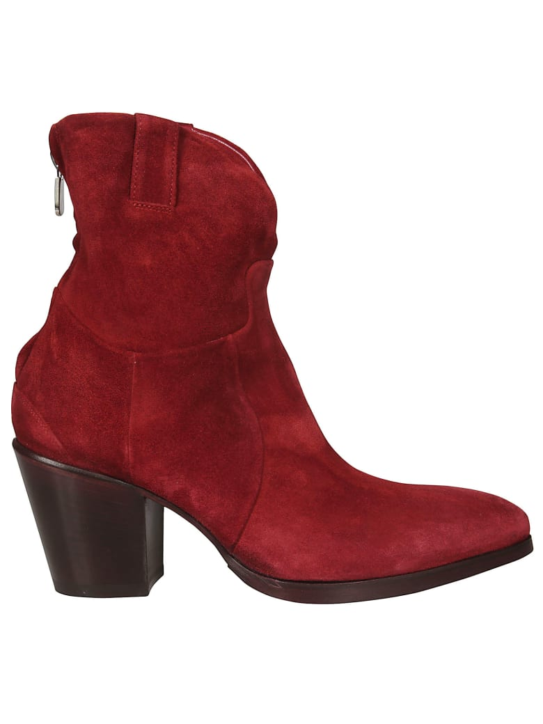 Rocco P. Rear Zip Ankle Boots - Red