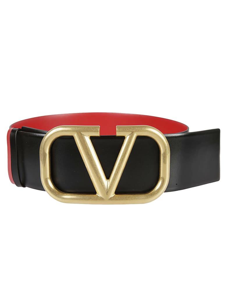 Valentino Garavani Reversible Buckle Belt - Black/Rouge