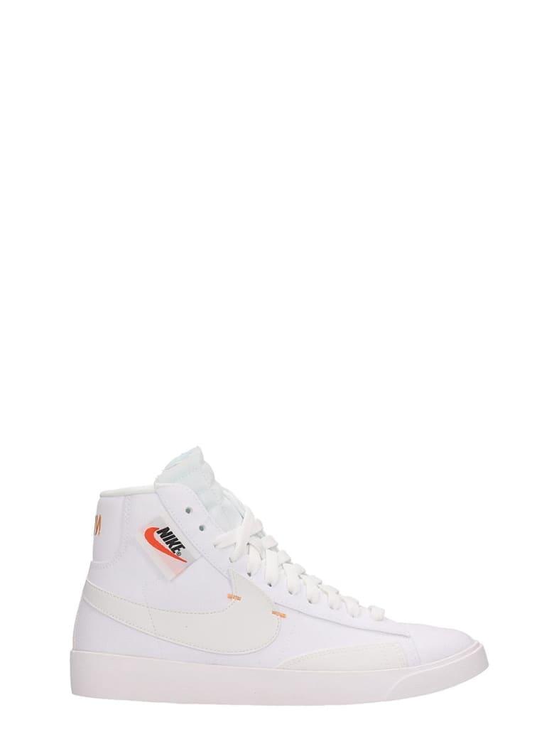 Nike Blazer Mid Rebel White Canvas Sneakers - white