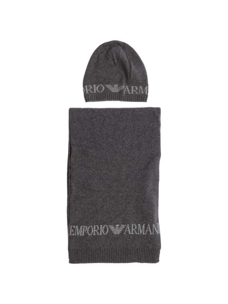 Emporio Armani Double Question Mark Hat And Scarf - Anthracite grey