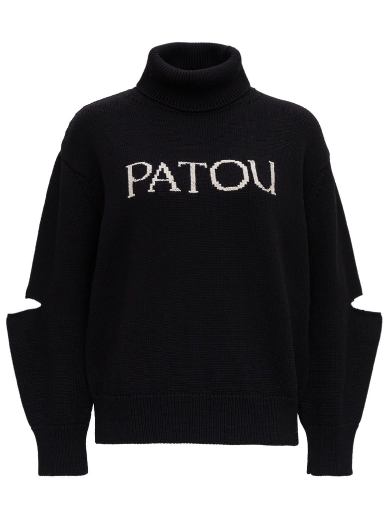 Patou High Neck Sweater With Front Logo - Black