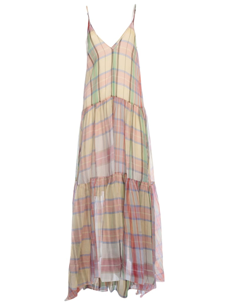 Forte_Forte Tartan Organza Silk Dress With Slip - Sunstone