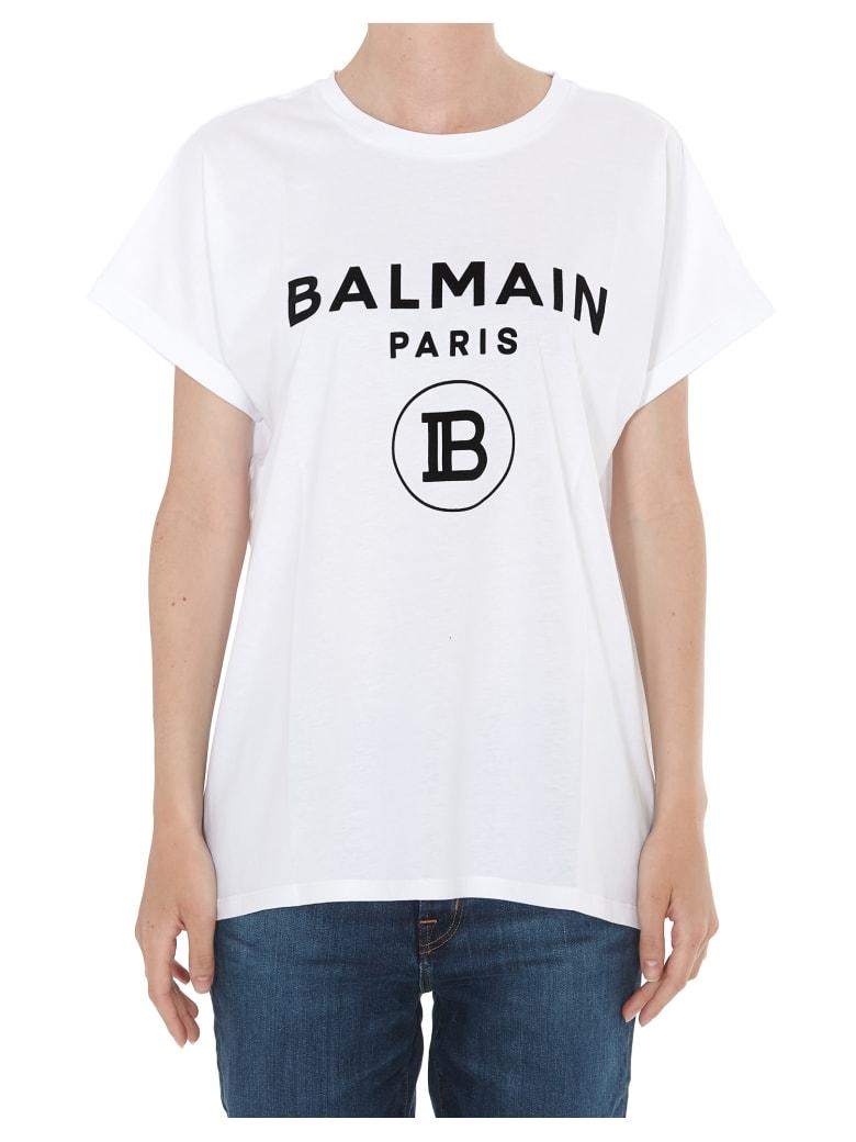 Balmain Flocked Logo T-shirt - White