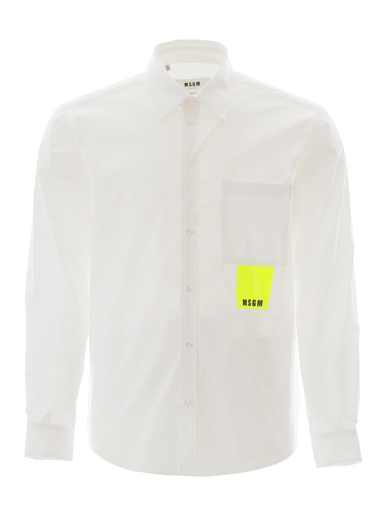 MSGM Neon Label Shirt - OPTICAL BIANCO (White)
