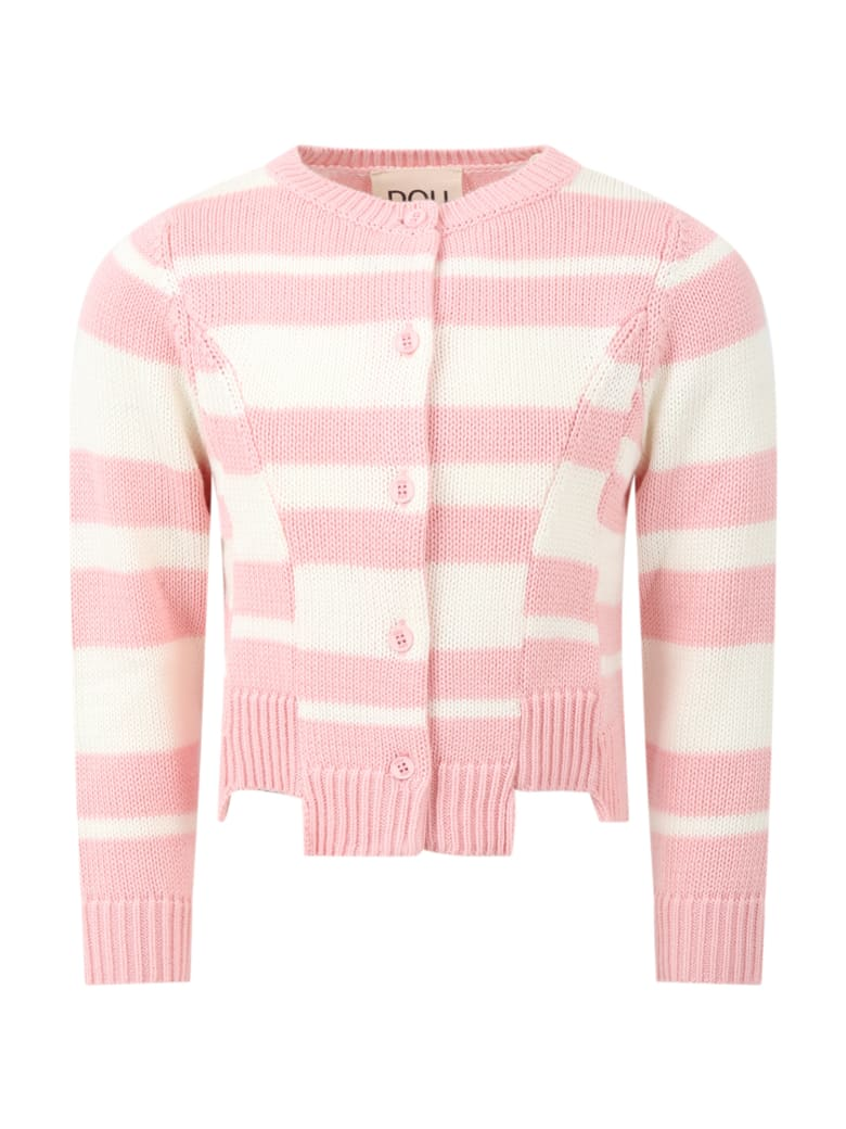Douuod Multicolor Cardiagn For Girl - Pink