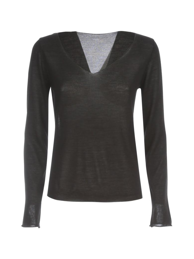 Nuur V Neck Wool & Silk Sweater - Nero
