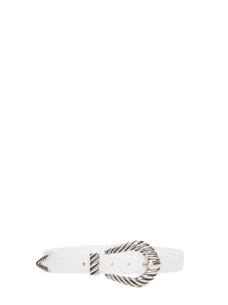 Alberta Ferretti Cocco Printed Leather Belt - Bianco