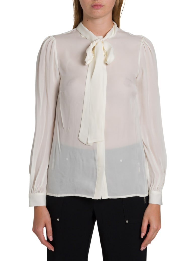 MICHAEL Michael Kors Silk Shirt With Bow On The Neck - Bianco