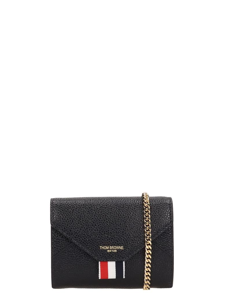 Thom Browne Black Quilted Leather Wallet - black