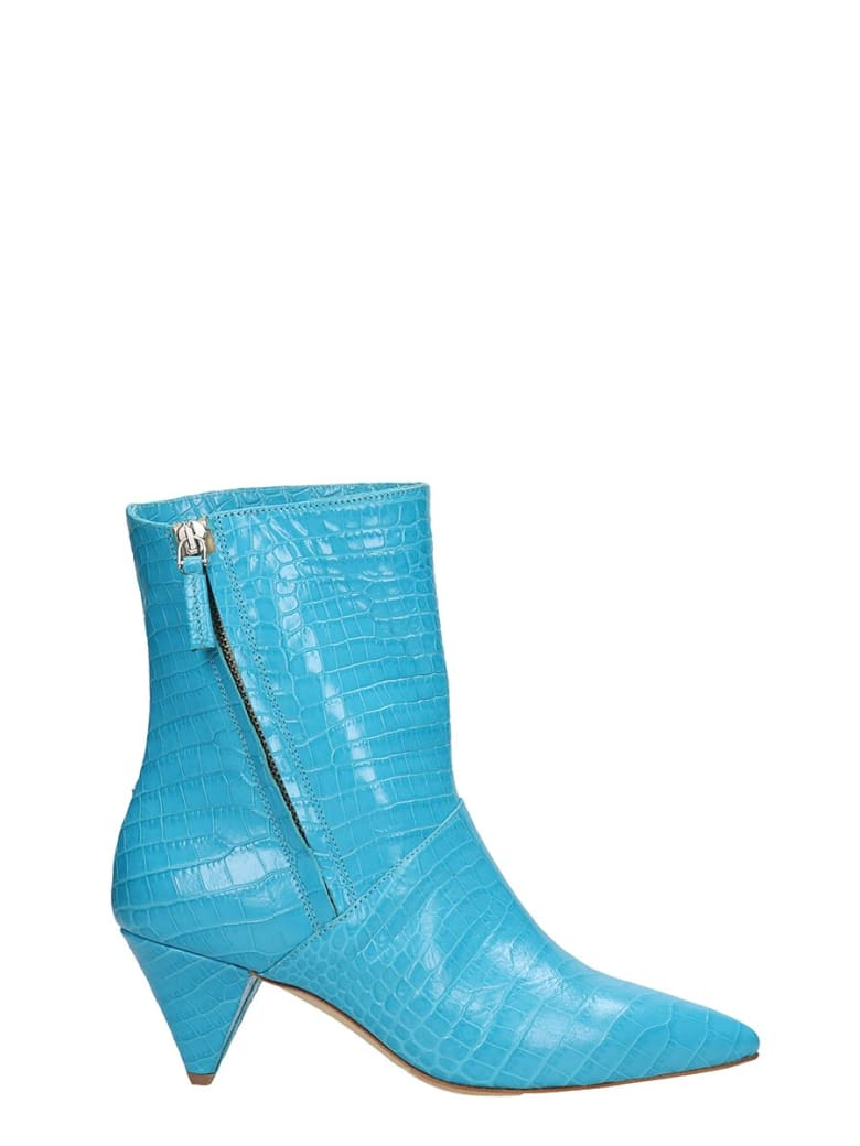 The Seller Light Blue Cocco Print Leather Ankle Boots - cyan