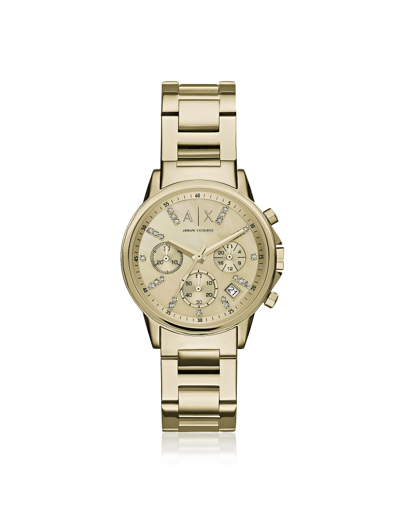 Armani Collezioni Armani Exchange Lady Banks Gold Tone Chronograph Women's Watch - Gold