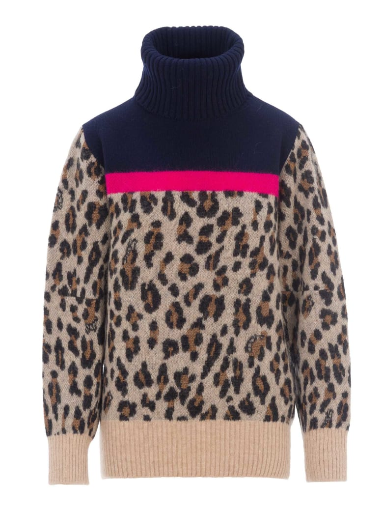 Sacai Leopard Print Jumper - BEIGE
