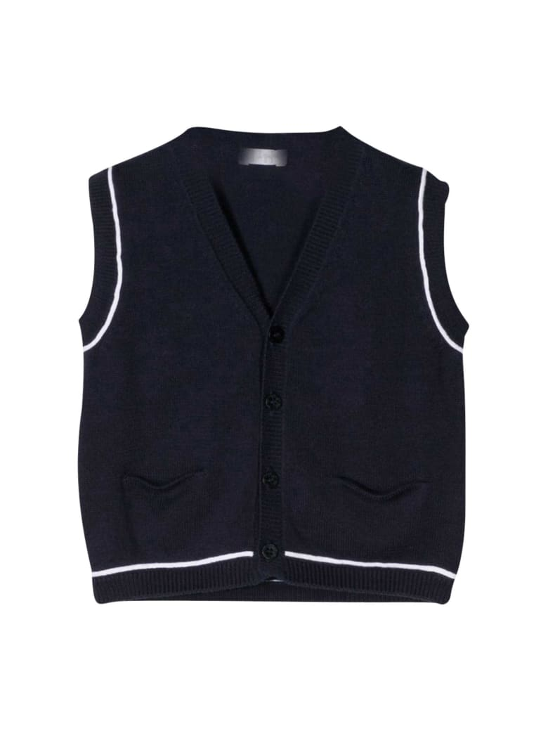 Il Gufo Line-detailed Vest - Blu/bianco